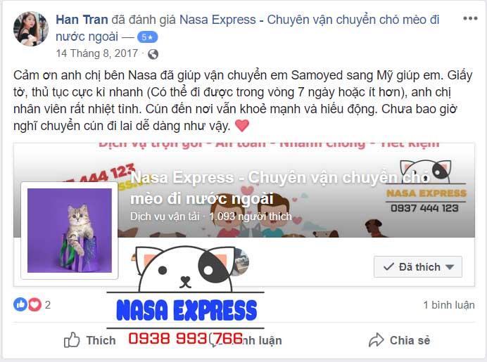 Phản hồi về dịch vụ gửi chó đi Mỹ tại Nasa Express